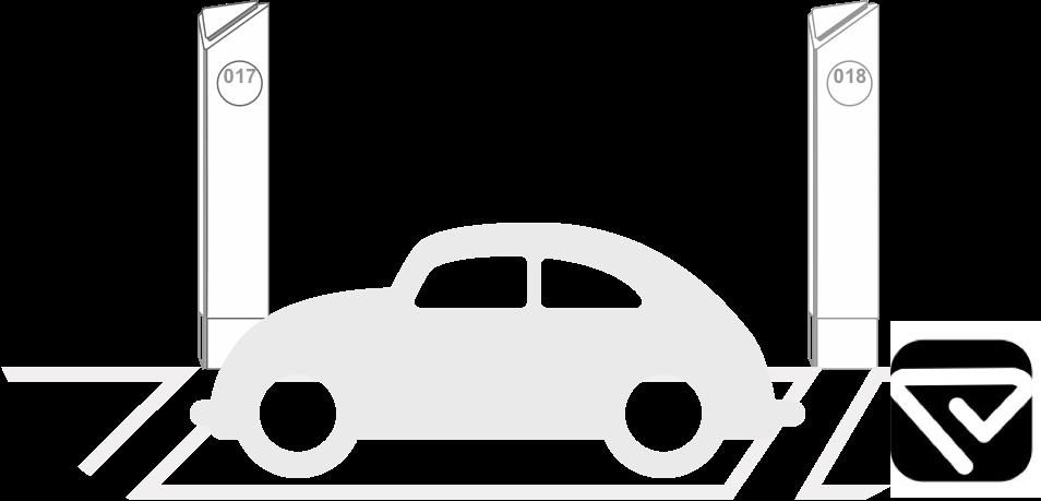 裝設智慧停車設備的停車格示意圖